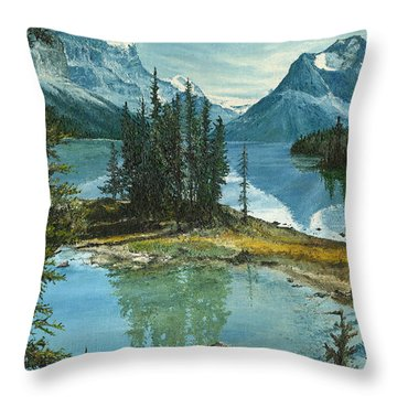 Throw Pillow featuring the painting Mountain Island Sanctuary by Mary Ellen Anderson