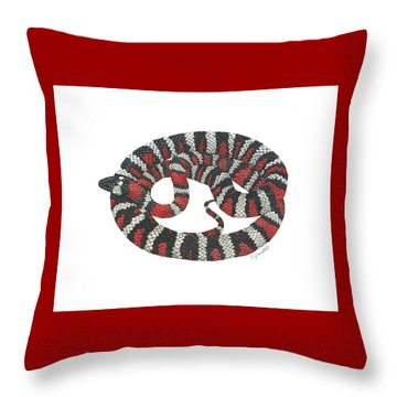 Mountain King Snake Throw Pillow by Cindy Hitchcock