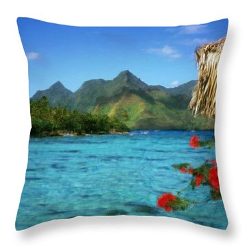 Throw Pillow featuring the painting Mountain Lake by Bruce Nutting