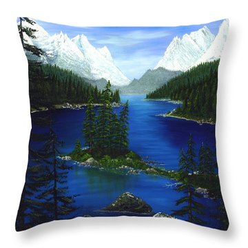 Mountain Lake Canada Throw Pillow