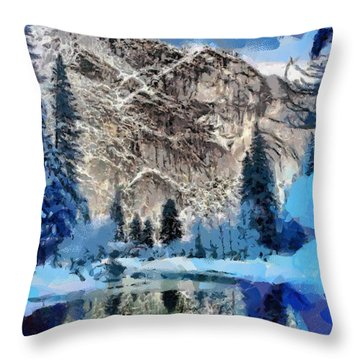 Mountain Lake Throw Pillow by Georgi Dimitrov