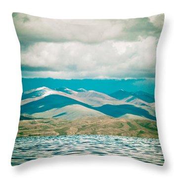 Mountain Lake In Tibet Manasarovar Throw Pillow