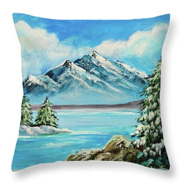 Throw Pillow featuring the painting Mountain Lake In Winter Original Painting Forsale by Bob and Nadine Johnston