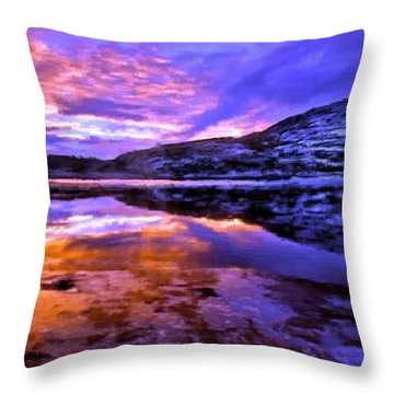 Throw Pillow featuring the painting Mountain Lake Sunset by Bruce Nutting