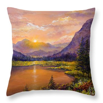 Throw Pillow featuring the painting Mountain Lake Sunset by Lou Ann Bagnall