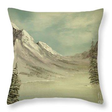 Mountain Lake Winter Scene Throw Pillow