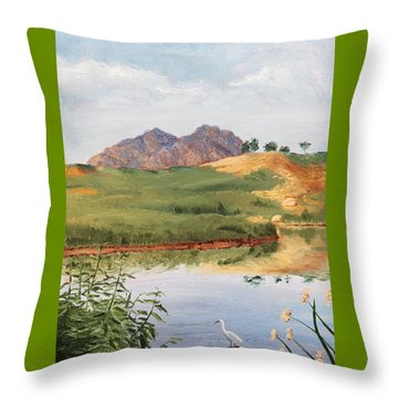 Mountain Landscape With Egret Throw Pillow