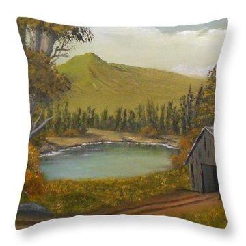 Mountain Line Shack Throw Pillow by Sheri Keith