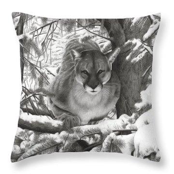 Mountain Lion Hideout Throw Pillow