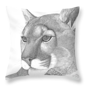 Throw Pillow featuring the drawing Mountain Lion by Patricia Hiltz