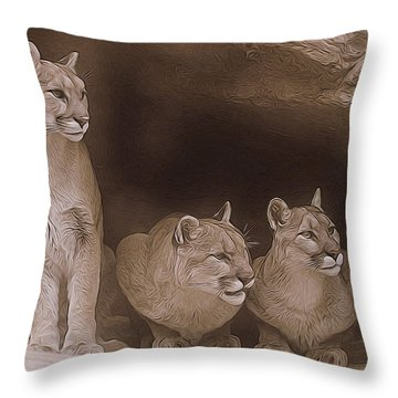 Mountain Lion Trio On Alert Throw Pillow by Diane Alexander