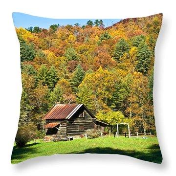 Throw Pillow featuring the photograph Mountain Log Home In Autumn by Susan Leggett