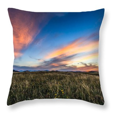 Mountain Meadow Sunset Throw Pillow by Jonathan Gewirtz