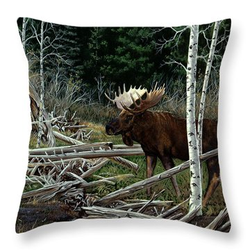 Throw Pillow featuring the painting Mountain Monarch by Craig T Burgwardt