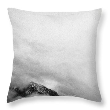 Mountain Peak In Clouds Throw Pillow