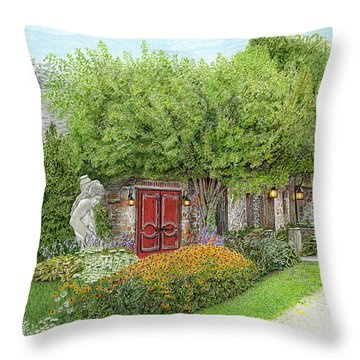 Throw Pillow featuring the painting Mountain Playhouse Jennerstown Pa by Albert Puskaric