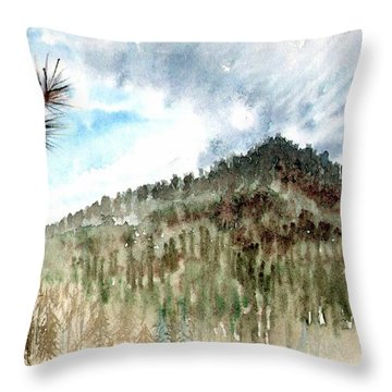 Throw Pillow featuring the painting Mountain Rain by Ashley Kujan