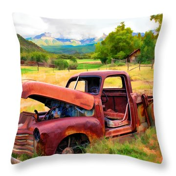 Mountain Ranch Truck Throw Pillow