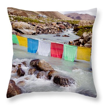 Mountain River And Buddhist Flags Lungta  Throw Pillow