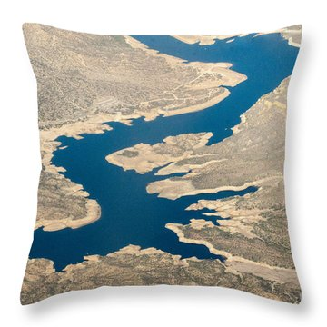 Mountain River From The Air Throw Pillow by Darleen Stry