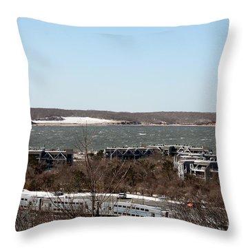 Mountain Side View Of Gardiner's Bay Throw Pillow by John Telfer