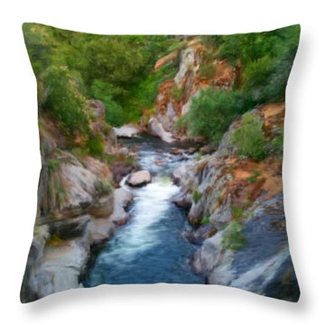 Throw Pillow featuring the painting Mountain Stream by Bruce Nutting