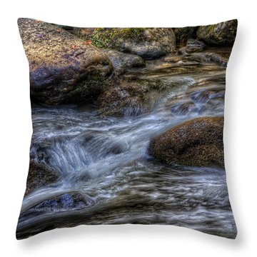 Mountain Stream On The Rocks Throw Pillow