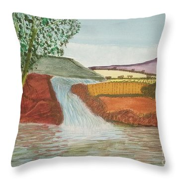 Throw Pillow featuring the painting Mountain Stream by Tracey Williams