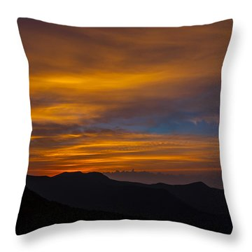 Mountain Sunset Throw Pillow by David Cote