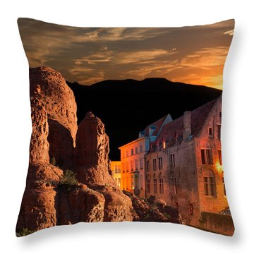 Mountain Sunset Throw Pillow by Fred Larson