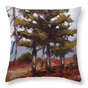 Mountain Top Pines Throw Pillow