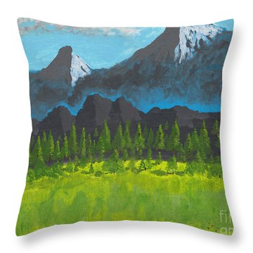 Throw Pillow featuring the painting Mountain Vista by David Jackson