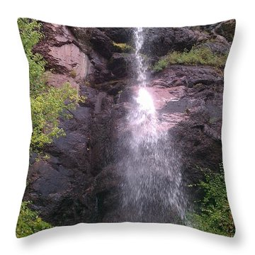 Throw Pillow featuring the photograph Mountain Waterfall by Fortunate Findings Shirley Dickerson