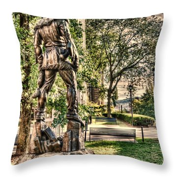 Mountaineer Statue At Lair Throw Pillow by Dan Friend