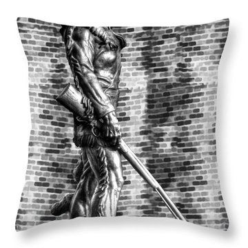 Mountaineer Statue Bw Brick Background Throw Pillow by Dan Friend