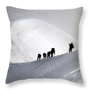Mountaineers To Conquer Mont Blanc Throw Pillow