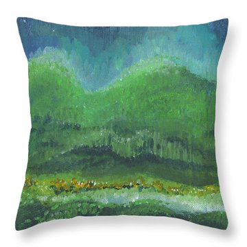 Throw Pillow featuring the painting Mountains At Night by Holly Carmichael