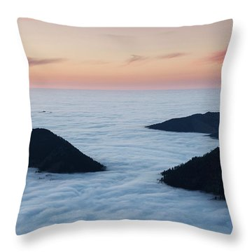 Mountains Emerge Above Inversion Layer Throw Pillow