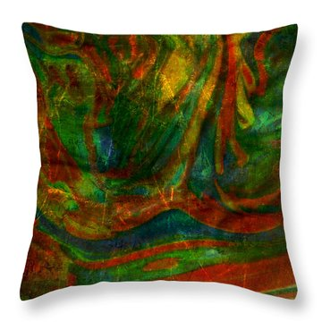Throw Pillow featuring the mixed media Mountains In The Rain by Ally  White