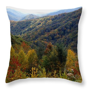 Mountains Leaves Throw Pillow