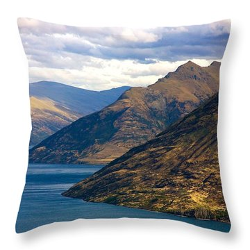 Mountains Meet Lake Throw Pillow