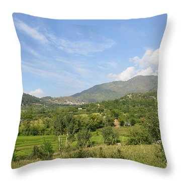 Throw Pillow featuring the photograph Mountains Sky And Clouds Swat Valley Pakistan by Imran Ahmed