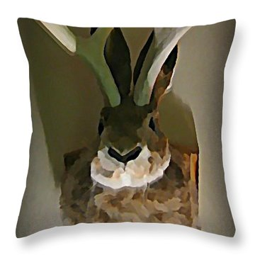 Mounted Jackalope From Vegas Throw Pillow by John Malone