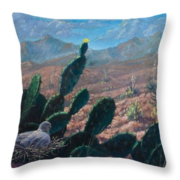 Throw Pillow featuring the painting Mourning Dove Desert Sands by Rob Corsetti
