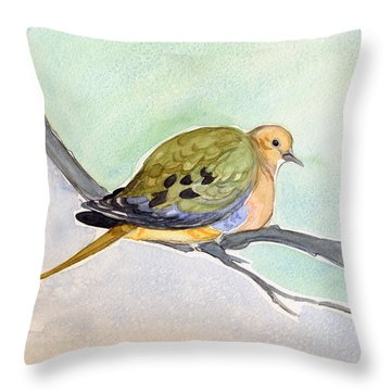 Mourning Dove Throw Pillow by Katherine Miller