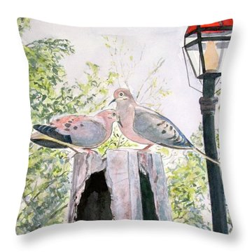 Mourning Doves Throw Pillow by Carol Flagg