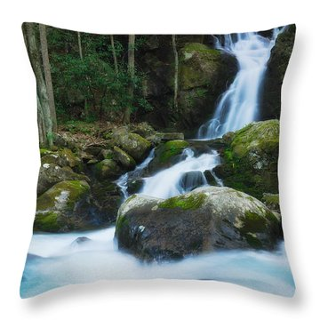 Mouse Creek Falls In Colour Throw Pillow by Photography  By Sai