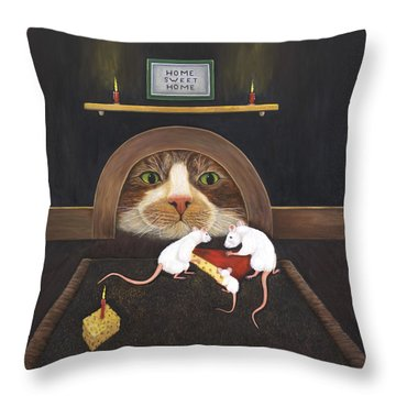 Throw Pillow featuring the painting Mouse House by Karen Zuk Rosenblatt
