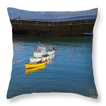 Mousehole Cornwall Throw Pillow by Louise Heusinkveld