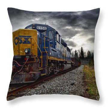 Moving Along In A Train Engine Throw Pillow by Melissa Messick